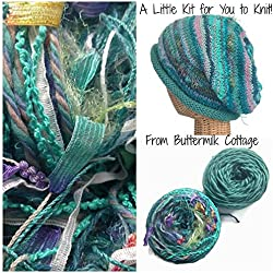 Boutique Yarn Slouchy Hat Knitting Kit Aqua