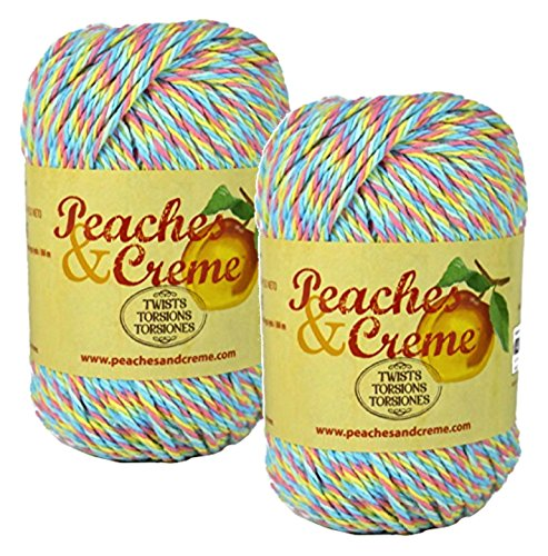 Bulk Buy: Peaches & Creme 100% Cotton Ombre Yarn (2-Pack) ~ 2 oz. Skeins (Candy Sprinkles Twists #13742)