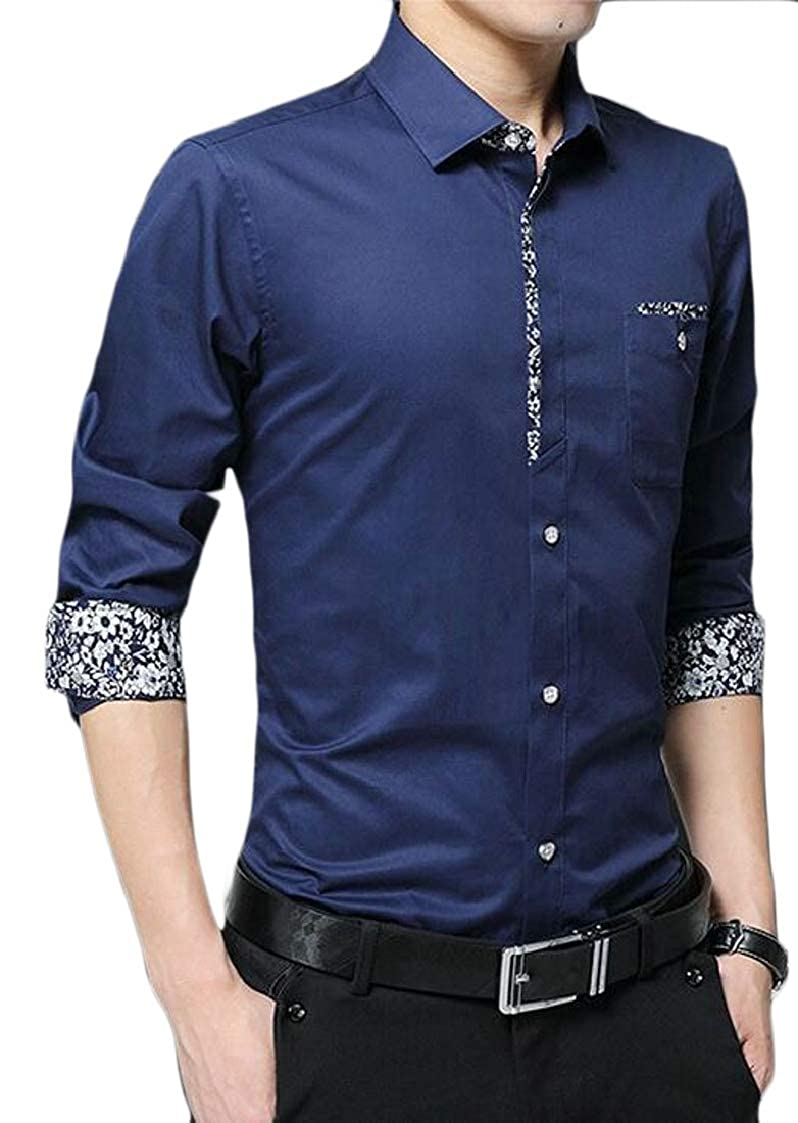 Lutratocro Mens Casual Long Sleeve Lapel Button-Down Inner Contrast Thick Shirts