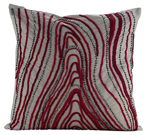 The Home Centric Cranberry Circuit Pillow Cover 22x22 22 x 22