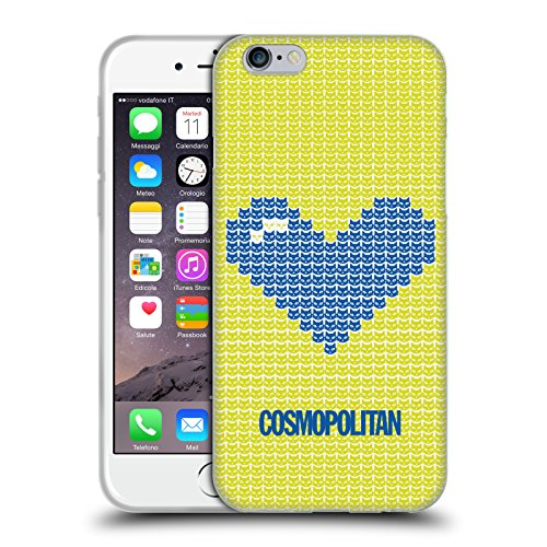 Official Cosmopolitan Blue On Yellow Pixel Heart Lovey Soft Gel Case for Apple iPhone 6 / 6s