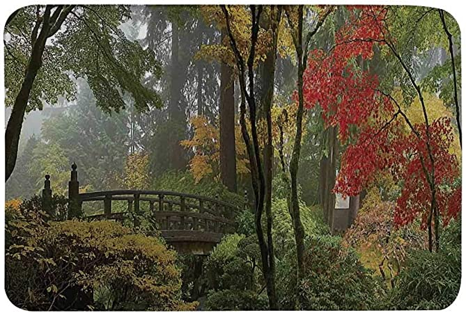 AoLismini Alfombra Antideslizante para decoración de Apartamentos, Puente de Madera Mojado en el jardín japonés de Portland, Oregon en otoño con Varios árboles Alfombrilla para Sala de baño: Amazon.es: Hogar