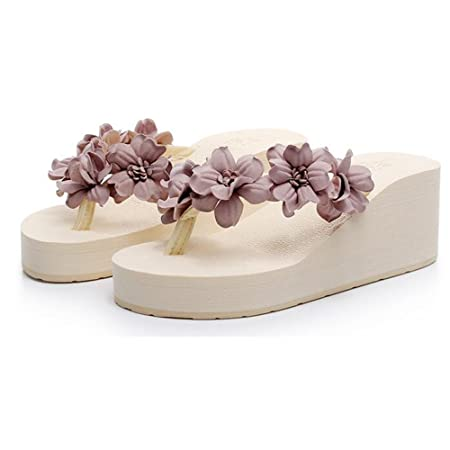f6fbf19ad XIAOLIN Hand-stitched Sweet Flowers Beach Shoes Wear Stylish Thick Bottom  Non-slip Sandals