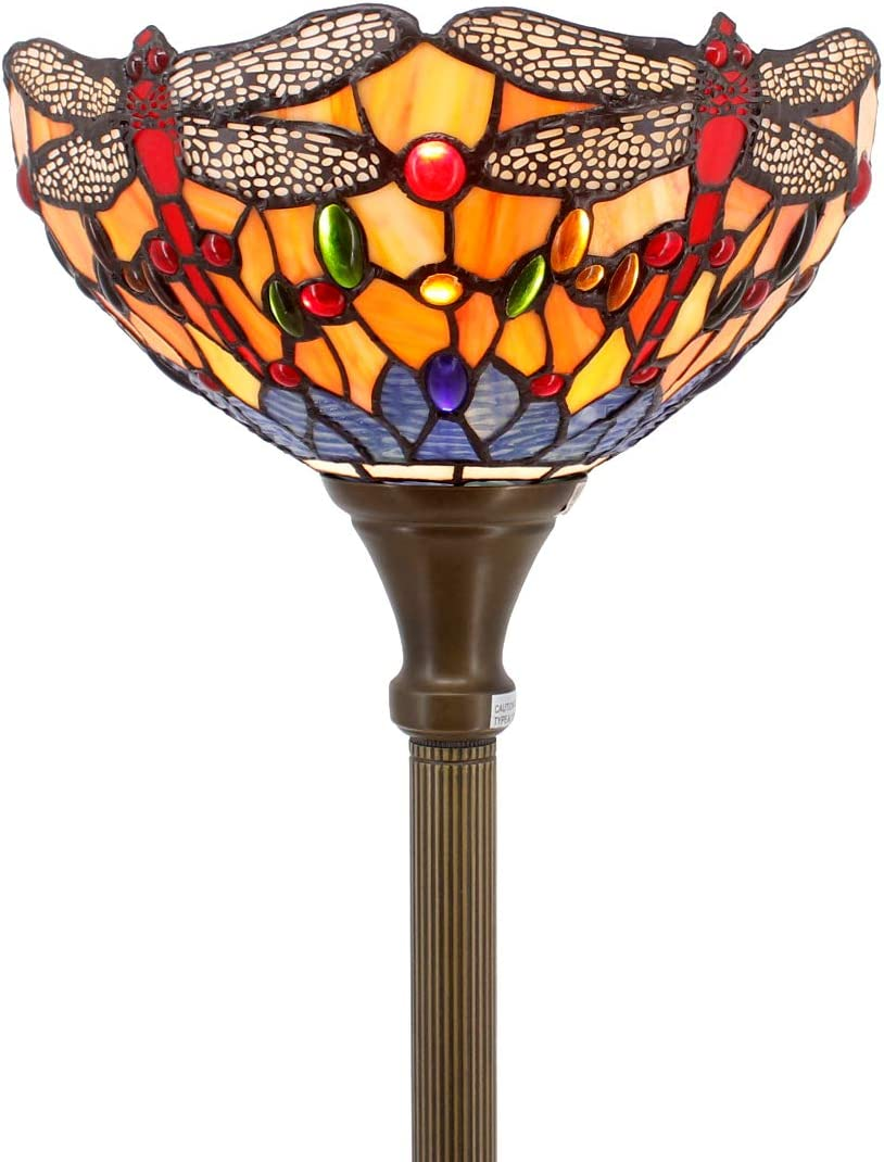 Tiffany Style Torchiere Light Floor Standing Lamp Wide 12 Tall 66 Inch Orange Blue Stained Glass Crystal Bead Dragonfly Lampshade for Living Room Bedroom Antique Table S168 WERFACTORY
