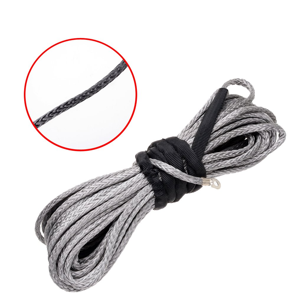 50 x 1//4, Blue Synthetic Winch Rope Cable w//Rubber Stopper Hawse Fairlead For Recovery Car ATV UTV Jeep Ramsey KFI Vehicle