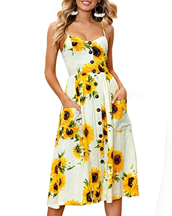 b0971314f75 Aofur Womens Casual Sleeveless Holiday Strappy Button Pocket Ladies Summer  Beach Midi Swing Sun Dress with