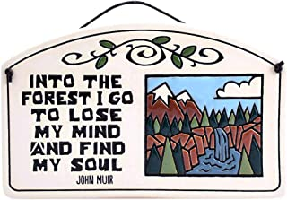 product image for Modern Artisans John Muir 'Into The Forest I Go.' Quote Ceramic Arch Plaque, 8.5-Inches, American Made