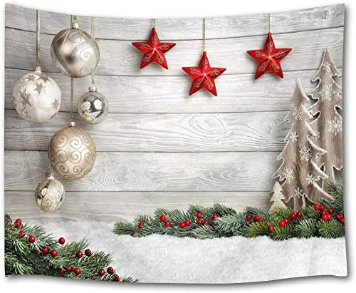 HVEST Christmas Tapestry Wall Hanging Christmas Tree and Bells Stars on Wooden Plank Backdrop Pine Tree Wall Blanket Xmas Tapestry for Bedroom Room Dorm Outdoor Decor,92.5W X 70.9H Inches