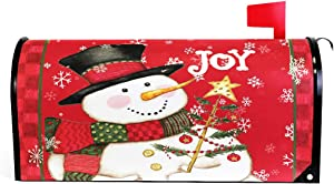 Merry Christmas Snowman Joy Magnetic Mailbox Cover MailWraps,Red Snowflake Winter Mailbox Wraps Post Box Garden Yard Home Decor for Outside Farmhouse Standard Size 20.8(L) x 18(W)