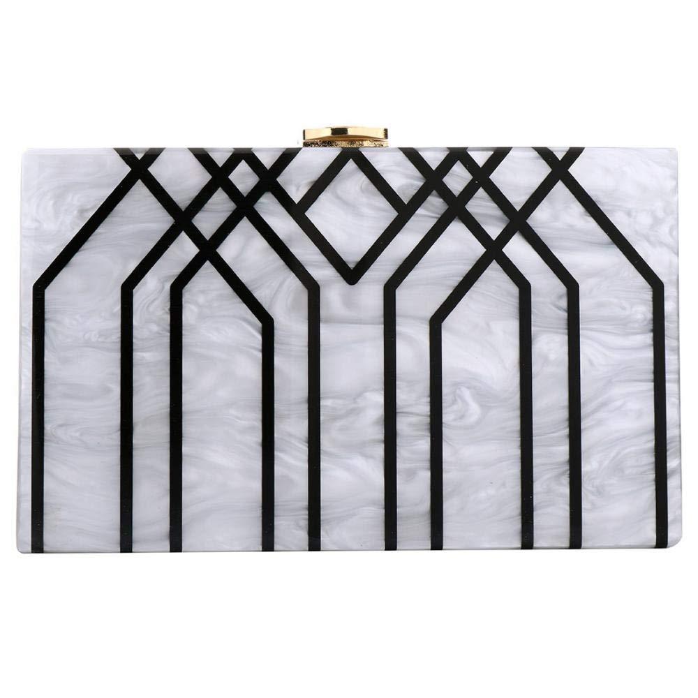 Dreamys Women Acrylic Clutch Box Evening Handbag Purse Stripes Shoulder Bag (Ivory)