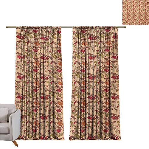 (Anzhutwelve Nature,Room Divider Curtain Rowan Maple Birch Oak Branches Deciduous Forest Autumn Leaf Ornament with Words W96 x L84 Thermal Insulating Blackout Curtain)