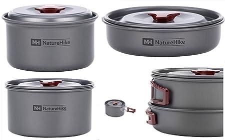Amazon.com: Igo Online Shop 2-3 Person 4 in 1 Camping Pot Set Outdoor Cookware set Camping Pot set Picnic Cook Ware: Sports & Outdoors