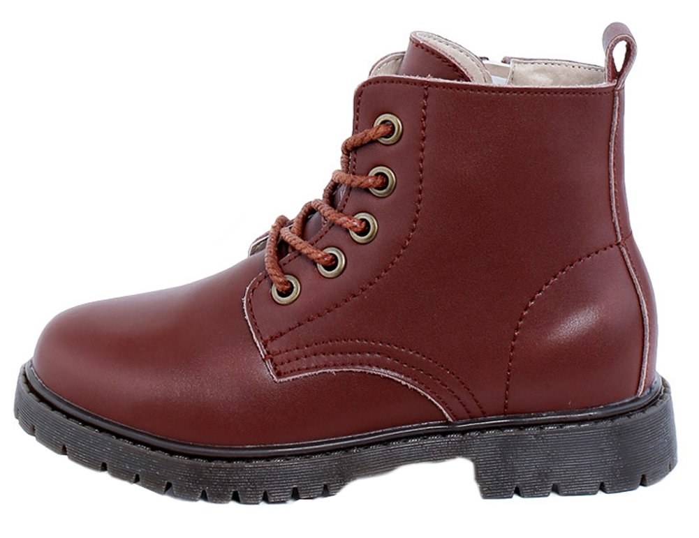 VECJUNIA Girls Boys Leather Lace Up Zipper Short Martens Dress Chelsea Boots Brown 5 M US Big Kid