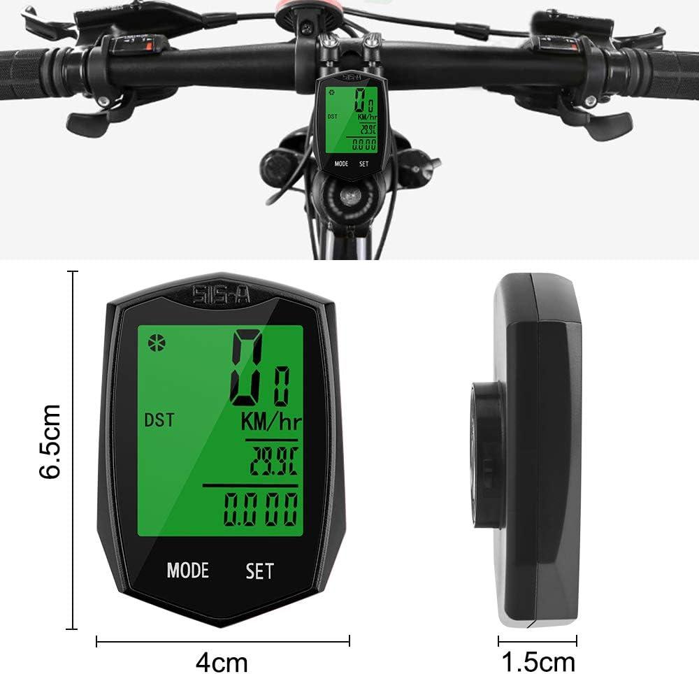Vegena Cuentakil/ómetros para Bicicleta Veloc/ímetro para Bicicleta Ciclismo Veloc/ímetro Impermeable Inal/ámbrico para Bicicleta con Pantalla LCD de Retroiluminaci/ón Rojo