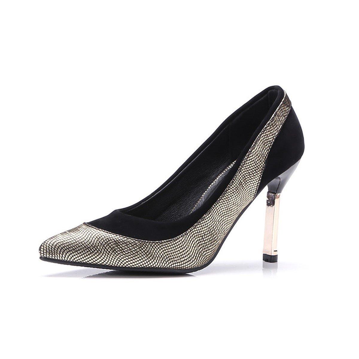 DIMAOL Damenschuhe Synthetische Komfort Frühling Herbst Komfort Synthetische Heels Stiletto Heel Schuhe geteilten Gemeinsamen für Outdoor Büro & Karriere Silber Gold 3bb0c7