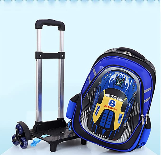Amazon.com : QCC& 2Pcs 3D Toy Car Nylon Kids Trolley Schoolbag Trolley Set, Boys Girls 6 Wheels Waterproof Backpack with Lunch Bag, Blue : Sports & Outdoors