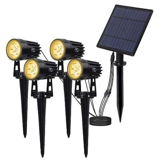 led proyector solar exterior, T-SUN foco solar led para exterior, blanco cálido 3000K, luz solar con impermeable IP65, 270 ° Ángulo Ajustable Farolas ...