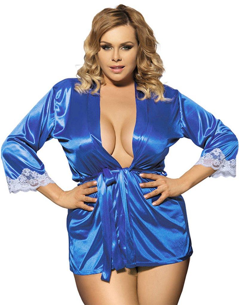 Wantmore Womens Sexy Plus Size Night Robe Mini Kimono Dressing Gown Blue US 16-18/4XL