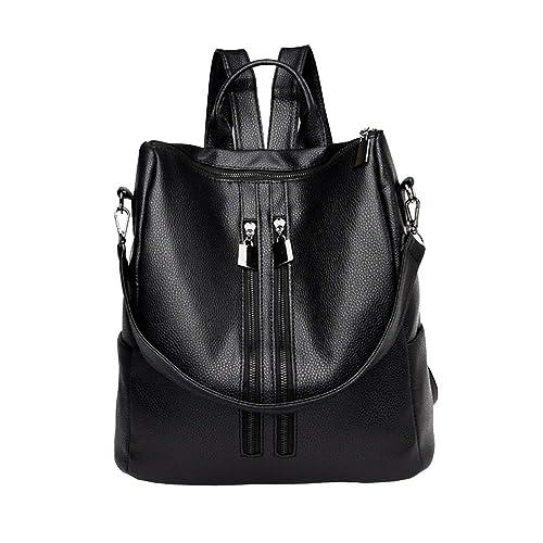 Mochila de viaje de piel de charol negra para mujer Moda Mochila de cuero Monedero Pequeña Mochila negra para mujeres: Amazon.es: Zapatos y complementos