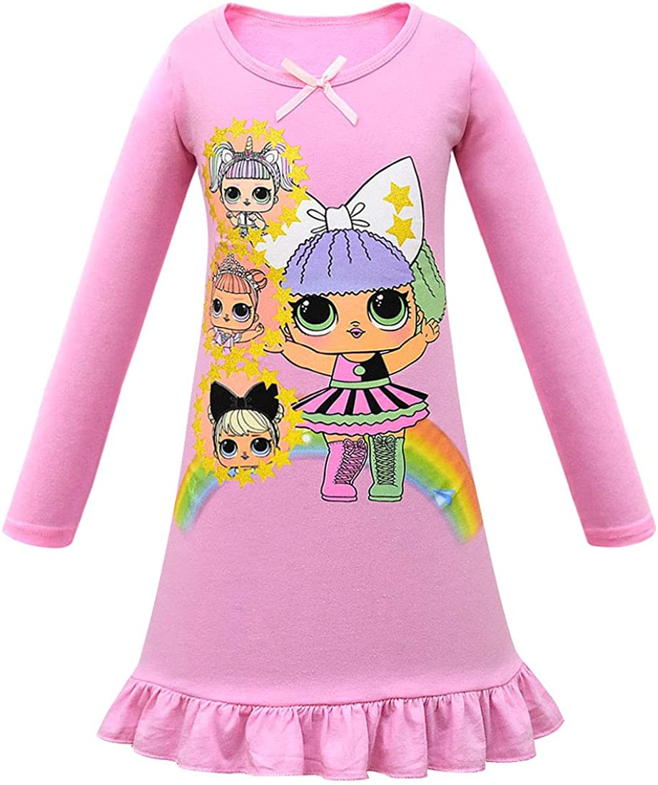 Lol Surprise Dolls Game Girls T Shirt Dress Nightwear Nightdress Pyjamas Skirts