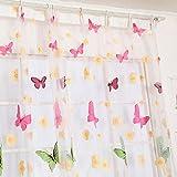 Tongshi Butterfly Print cortinas Sheer Para Salón Dormitorio Chica