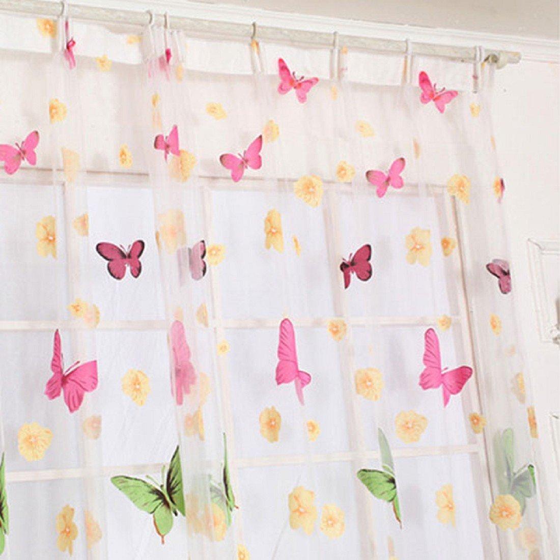 tongshi butterfly print cortinas sheer para saln dormitorio chica