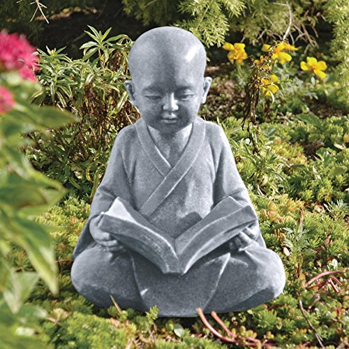 Design Toscano Baby Buddha Studying The Five Precepts Asian Decor Garden Statue, 12 Inch, Greystone