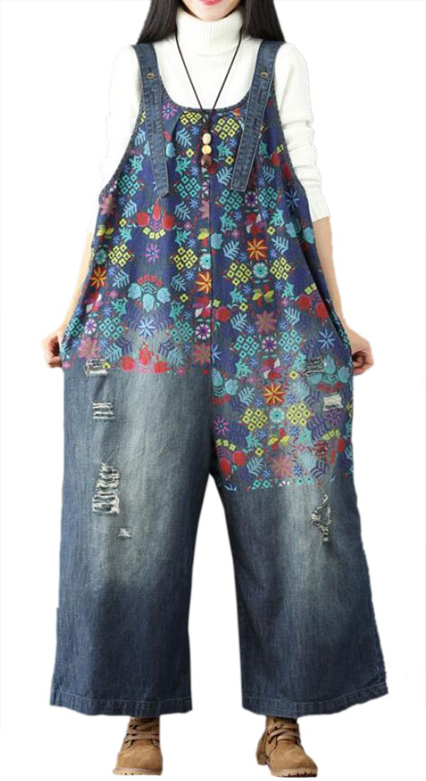 Suncolor8 Womens Wide Leg Jeans Denim Print Plus Size Baggy Holes Jumpsuits Overalls