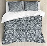 Lunarable Grey Duvet Cover Set Queen Size, Antique Victorian Foliage Ornate White Blossoms with Leaves Curly Branches, Decorative 3 Piece Bedding Set with 2 Pillow Shams, Charcoal Grey White