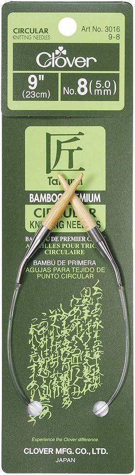 CLOVER Bamboo Circular Knitting Needles Takumi 9-Inch Size 0