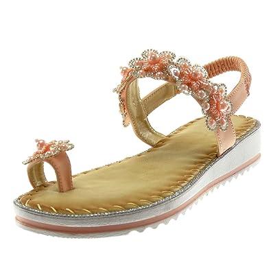 Angkorly Damen Schuhe Sandalen Flip-Flops - Slip-On - Blumen - Perle - Strass Keilabsatz 3 cm - Schwarz L6125 T 37 fa1dTxpTC