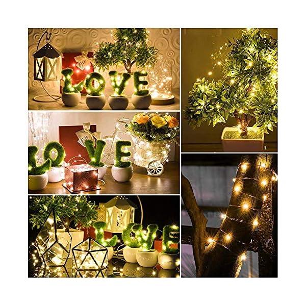 2 Pezzi Stringa Luci LED - 10M/33FT Catene Luminose 100LED Luci Natalizie Batteria Impermeabile IP65, Esterno/Interni Lucine Decorative per Balcone Giardino Feste Natale (Bianco Caldo) 5 spesavip