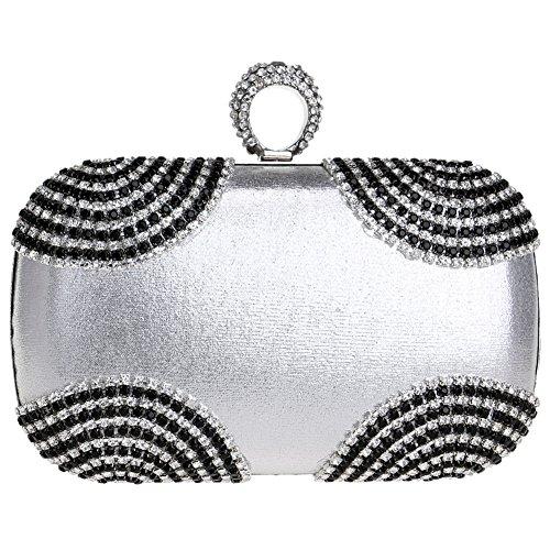Main Bourse Chaîne Sac Fête Silver Clutch Bandouliere Maquillage pour Sac Soirée Femme Mariage Bal Pochette à gY1gUA4