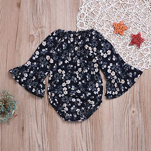NUWFOR Newborn Infant Baby Girl Floral Flower Rompert Bodysuit Outfits Clothes (Navy,3-6 Months) by NUWFOR (Image #1)