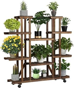 Yaheetech Étagère à Fleurs en Bois Supports de Pots à roulettes Porte Plante 9 Tablettes Escalier Présentoire de Jardin 124,5 x 33 x 120 cm