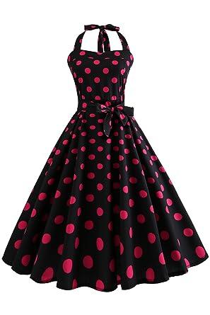58cb7e5f9b24 Babyonlinedress Halter Polka Dot 50s Style Vintage Retro Rockabilly Swing  Dress(Black+Red Dot