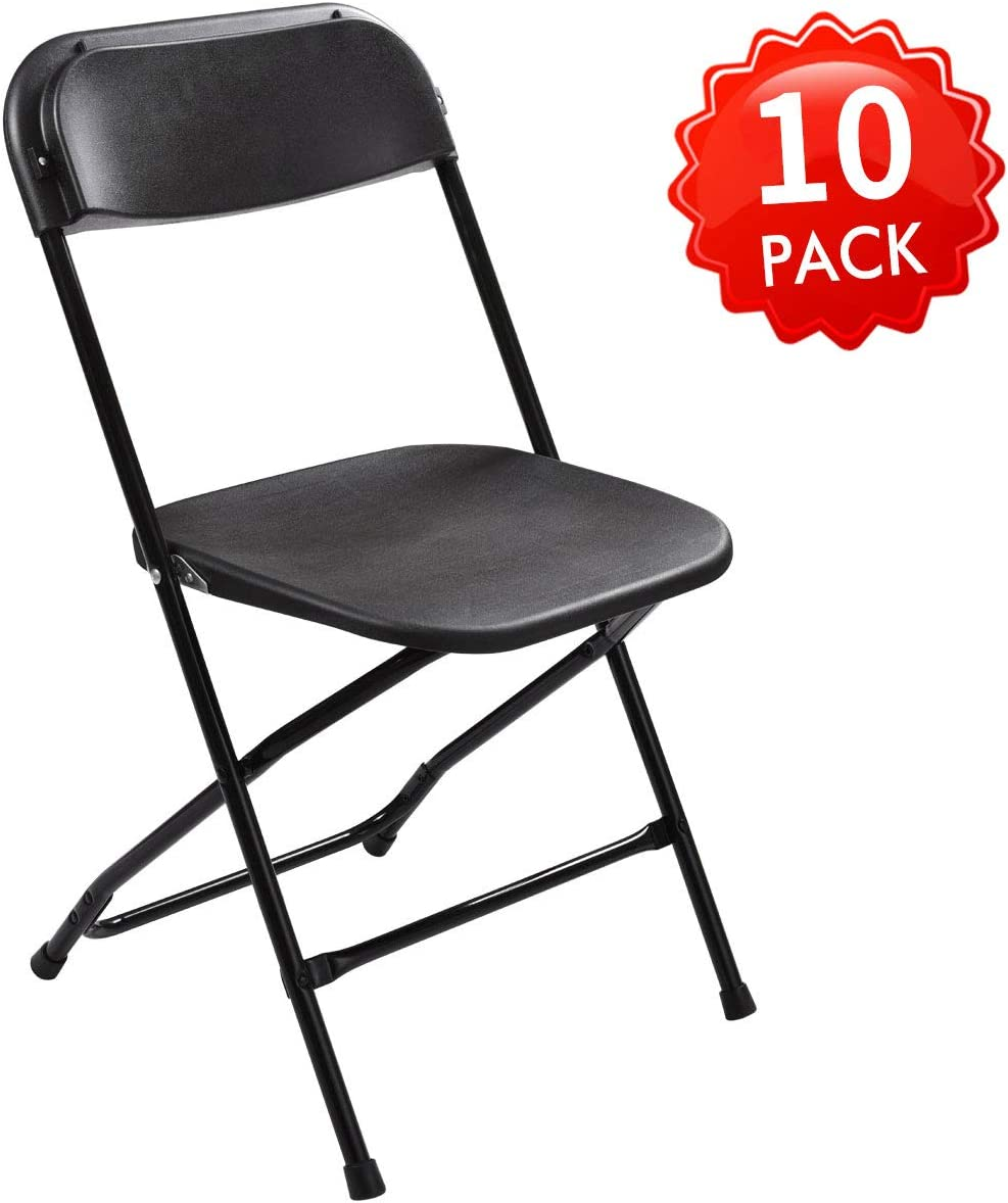 JAXSUNNY Black Plastic Folding Chair for Wedding Commercial Events Stackable Folding Chairs 440 lb.Capacity 10 Pack ,17.7 L x 17.7 W x 31.5 H