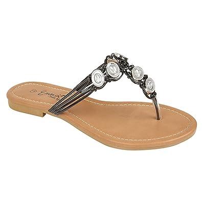 ba6a451bb Ladies Emma Jeweled Toe Post Flat Sandals Summer Shoes Flip Flops Iris   Amazon.co.uk  Shoes   Bags