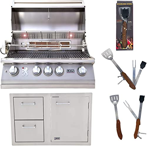 Lion Premium Grills 32-Inch Natural Gas Grill L75000 and Door and Drawer Combo with Towel Rack with 5 in 1 BBQ Tool Set Package Deal