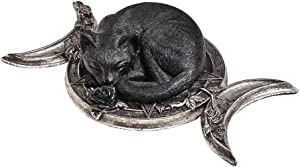 Alchemy Gothic Witches Familiar Table Ornament -Stunning Mystic Black Cat Lying on The Triple Moon