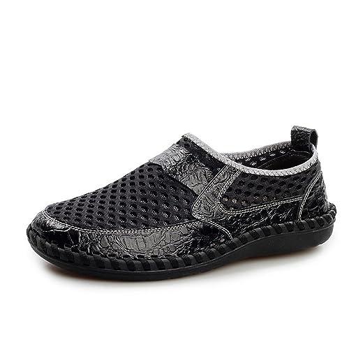 Zapatos De Senderismo para Hombres Malla De Cuero Mocasines Deportivos Casuales Ligeros Antideslizantes Transpirables Zapatos Planos para Exteriores: ...