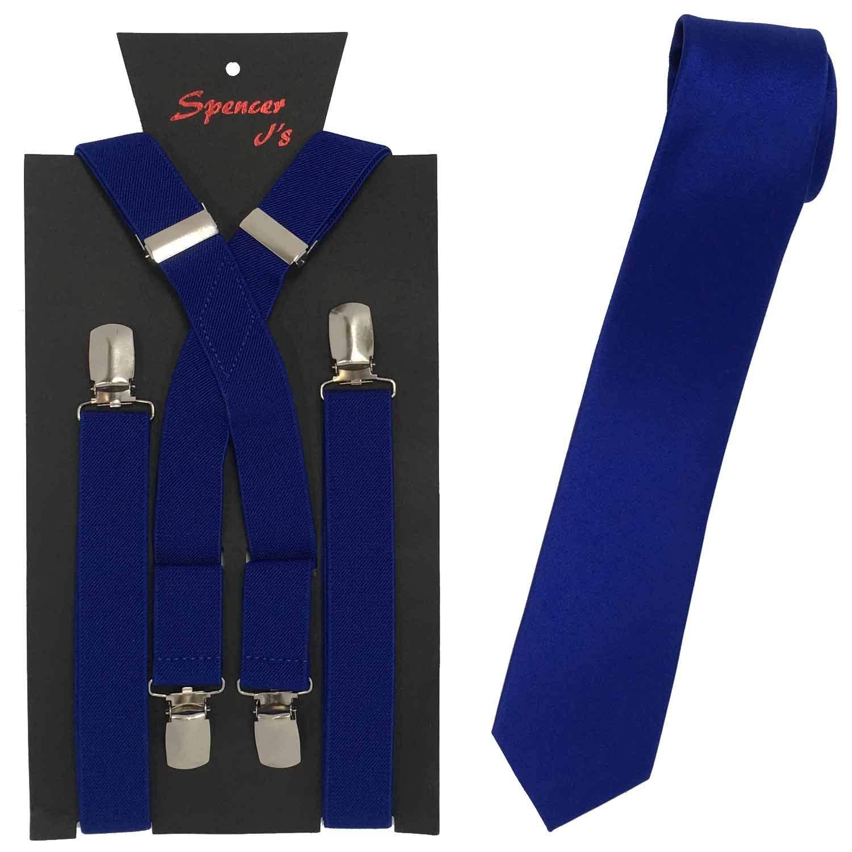 Spencer J's Skinny Neck Tie and Suspender set Variety of Colors (Royal Blue)