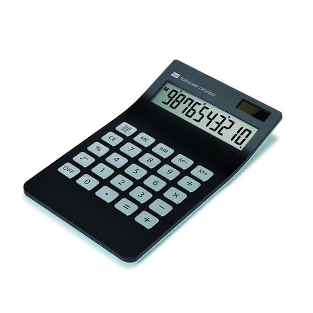 【Letitfly】 Calculator, Slim Elegant Design, Office/home electronics, Dual Powered Desktop Calculator, Solar power, 10 Digits, Tilted LCD Display, Stable Design, Black (NewBlack)