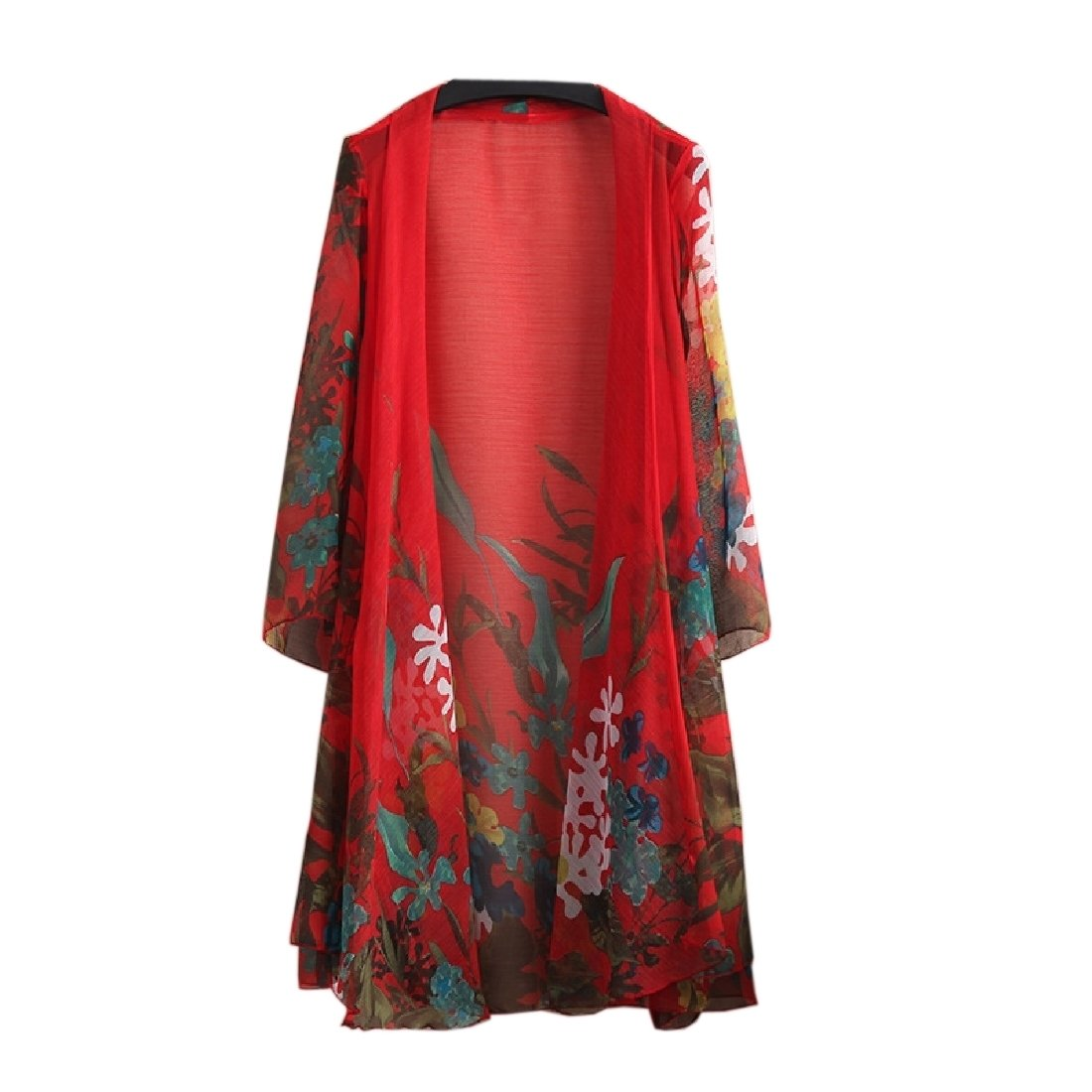 YUNY Women Chiffon Floral Longline Relaxed Fit Coat Sunscreen Clothing Red 3XL