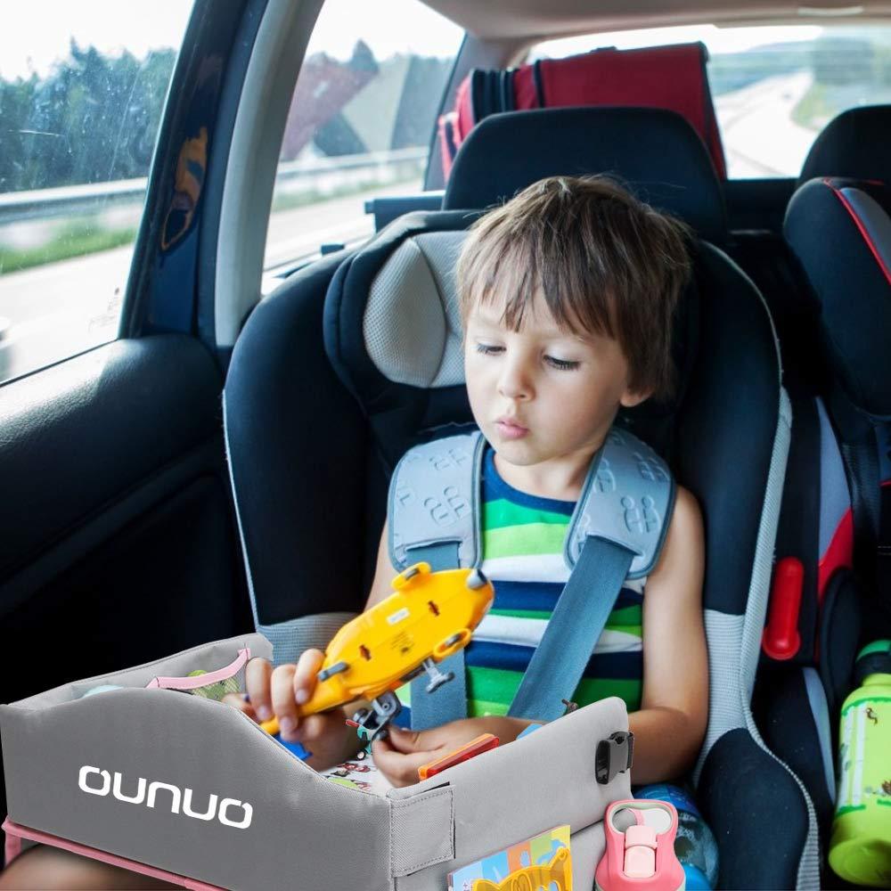 8,5 Zoll LCD Schreibtafel Multifunktion Knietablett Reisetisch Faltbar Auto Kindersitz Spieltisch 5 Zeichenpapier und 6 Farbstifte OUNUO Kinder Reisetisch ROSA