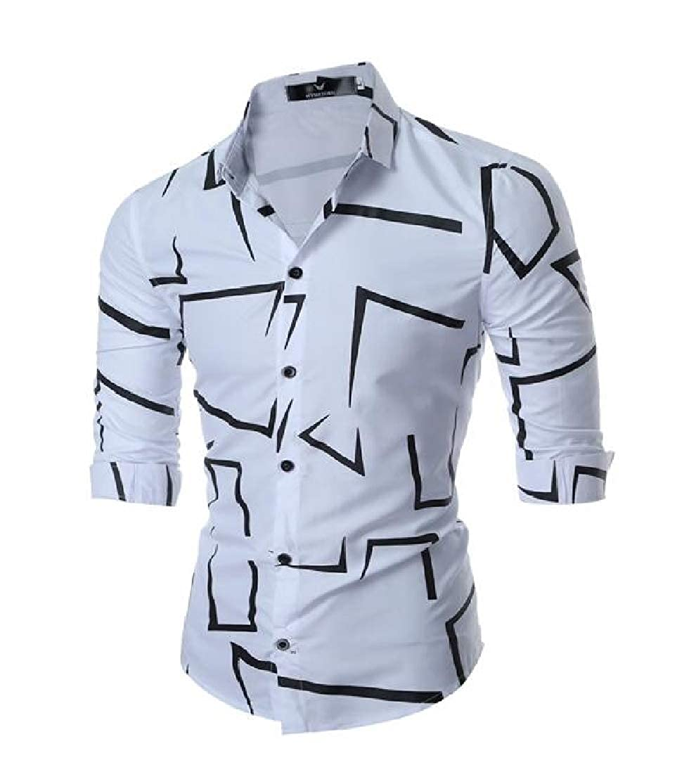 Cromoncent Mens Lapel Button-Down Printed Stylish Long Sleeve Shirts