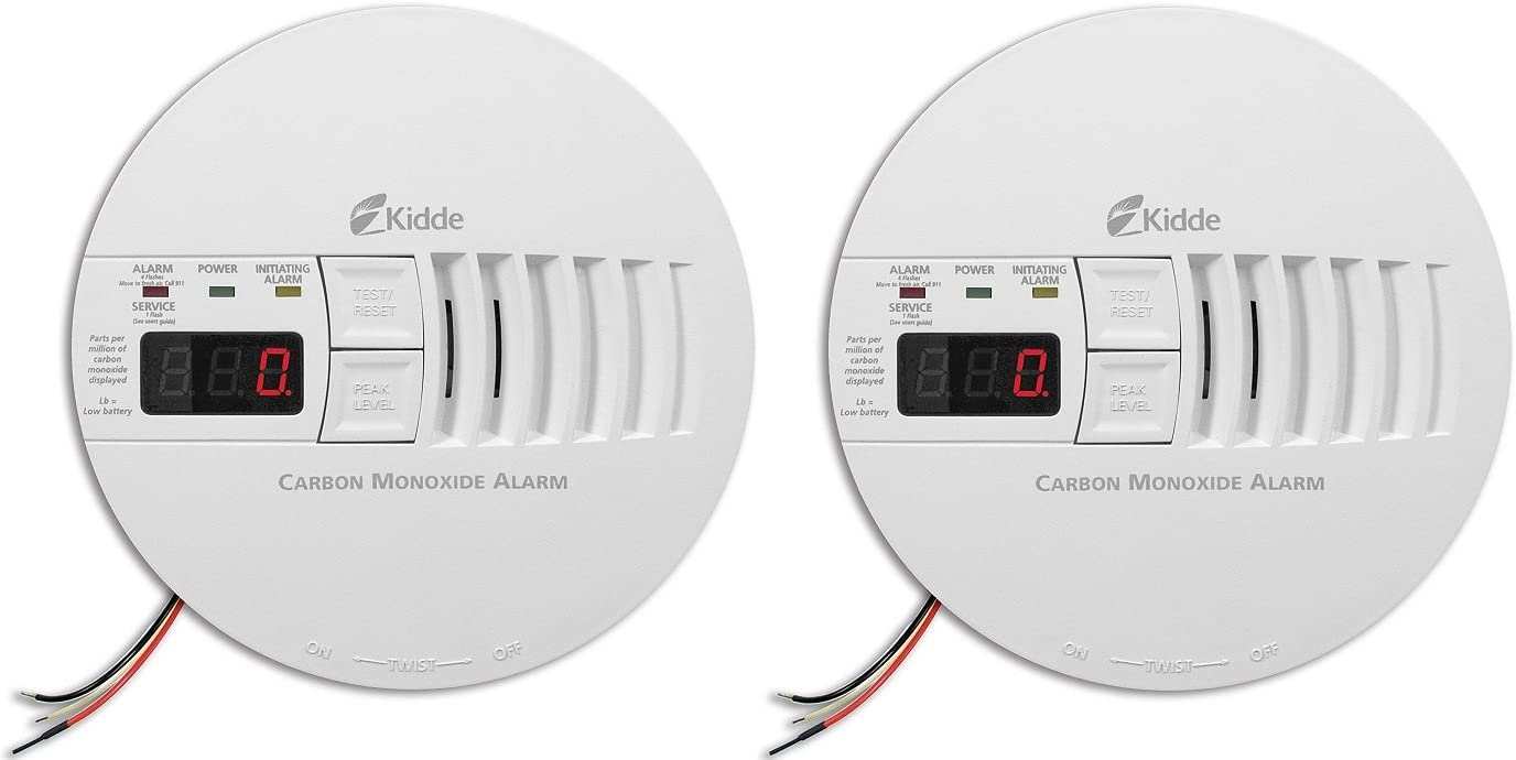 Kidde KN-COP-IC Hardwire Carbon Monoxide Alarm with Battery Backup and Digital Display, Interconnectable Pack of 2
