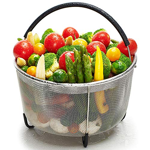 Ecardy 3qt Steamer Basket Compatible with Instant Pot Accessories 3 qt [6qt 8qt available] - Compatible with Instant Pot Steamer Basket 3 qt - Steam Vegetables, Eggs - Fits Most Pressure Cookers by Ecardy
