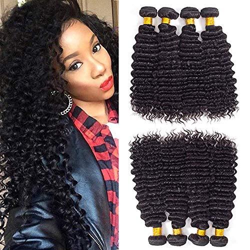 Brazilian Deep Wave Human Hair Bundles, Brazilian Virgin Hair Deep Curly Bundles Human Hair Weave Bundles (10 12 14 16)