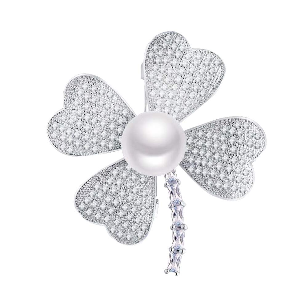 Joyci Women Brooch Pin Elegant Pearl Rhinestone Brooch Pin Jewelry Lucky Four Leaf Brooch Gift for Women Girls